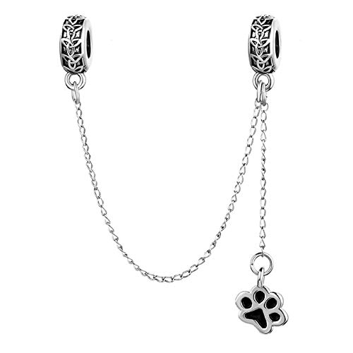 KunBead Dog Paw Prints Link Chain Safety Chain Charms Cletic Knot Bead Charm for Snake Chain Bracelets