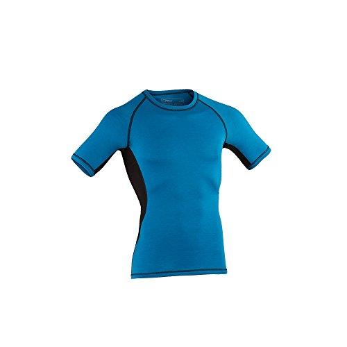 Engel Sports Bio functioneel ondergoed heren shirt met korte mouwen van bio merinowol en zijde met elastaan (L, Sky/Black)