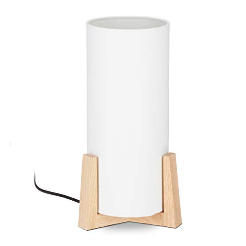 Relaxdays, weiß/natur Tischlampe Holzfuß, runder Lampenschirm, modernes Design, E14, Nachttischlampe, HxD: 33 x 15 cm