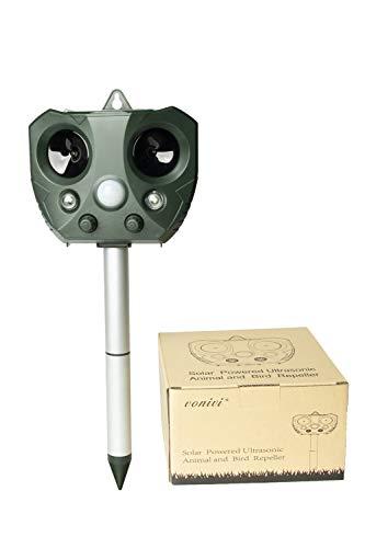 vonivi Cat Repellent, Animal Repeller Solar Rechargeable Battery Operated Fox Repellent Cat Deterrent Scarer for Gardens (green)