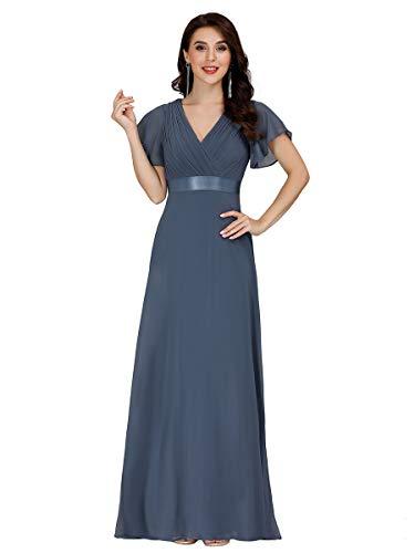 Ever-Pretty Damen Abendkleid Frau A-Linie Festliches Kleid V Ausschnitt Hochzeit lang Staubige Marine 48