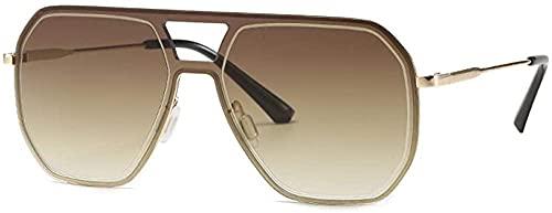 Gafas de sol de gran tamaño Nueva Personalidad Retro Wild Gafas de sol Pilot Moda Tinta Street Shooting-amarillo