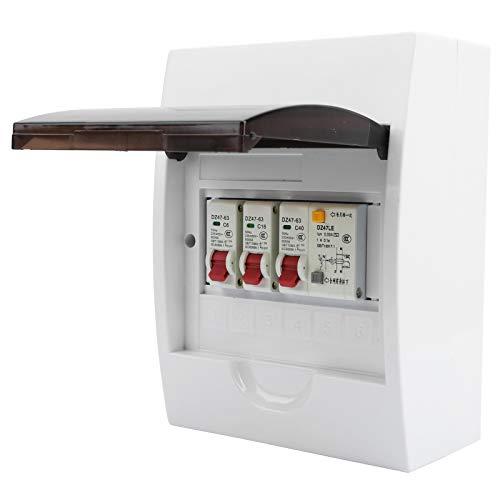 Caja de fusibles Eujgoov 2 vías 40A 30mA RCD + 2 MCB Fuente de alimentación Garaje Edificio residencial Caja de electricidad