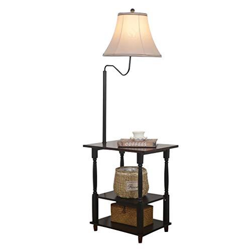 LED Floor Lamp met End Table, Modern Bedside Nachtkastje Verlichting met Linnen Lampenkap, Attached Bijzettafeltje met 3 Tier Houten Planken