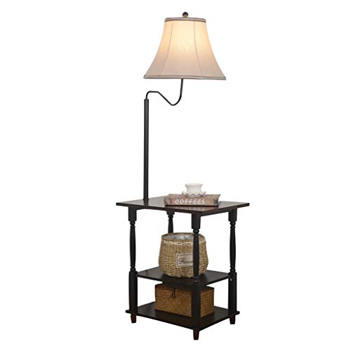 Lámpara de pie, iluminación interior, lámpara de pie LED con mesa auxiliar, moderna iluminación nocturna con pantalla de lino, mesa auxiliar fija con 3 estantes de madera