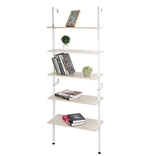Zerone Librería de 5 Niveles, Estantería Estilo Moderno para Sala de Estar, Oficina, Estudio, 60 x 30 x 184cm
