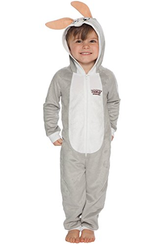 Looney Tunes Boys' Little Looney Toons Bugs Bunny One Piece Critter Pajama, Gray, 6/7