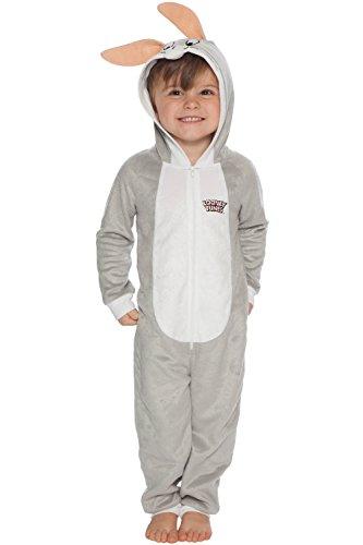 Looney Tunes Boys' Big Looney Toons Bugs Bunny One Piece Critter Pajama, Gray, 8