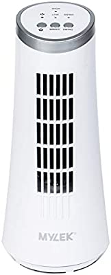 "MYLEK Tower Fan Oscillating 12"" Inch Electric, Desk, Bedside Table, Home, Work Office with 2 Speed Settings, Oscillating - White - UK 3 Pin Plug"