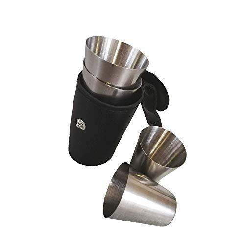 Schmalz® Shot-Gläser aus Edelstahl inkl. Leder Tasche mit Smarter Gürtelhalterung Stamperl Set für Fasching Wandern Junggesellenabschied 30ml
