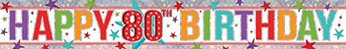 amscan Holografischer Folienbanner mit Glückwunsch zum 80. Geburtstag 9900970; 2,7 m