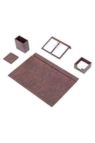 Calme-D - Juego de 5 protectores de escritorio (49 x 34 cm, piel sintética), color marrón