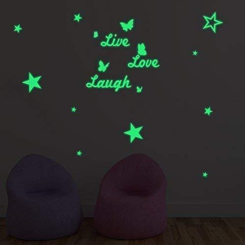 Fillplus Pegatinas de Pared Live Love Laugh & Estrellas Glowing Sticker Murales Adhesivos Arte salón guardería Escuela Restaurante Hotel Cafe Oficina decoración decoración del hogar, Multicolor