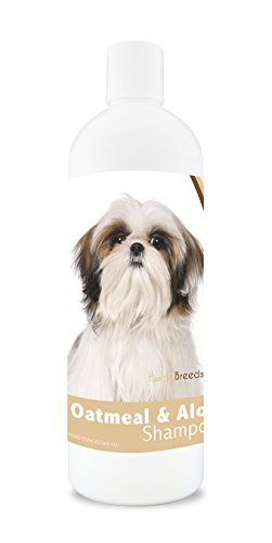 Healthy Breeds Dog Oatmeal Shampoo with Aloe for Shih Tzu - Over 75 Breeds – 16 oz - Mild and Gentle for Itchy, Scaling, Sensitive Skin – Hypoallergenic Formula and pH Balanced