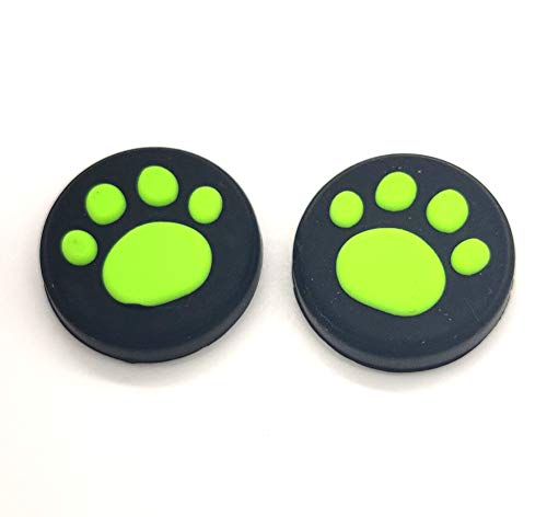 2 x Silikon-Analog-Controller-Joystick-Griffe für Nintendo Switch NS/Switch Lite Controller Joy-Con ThumbStick Cute Cat Paw Claw (grün)