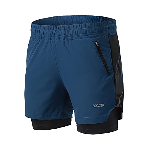 ARSUXEO Men's 2 in 1 Active Running Shorts with 2 Zipper Pockets B191 Dark Blue Size Large