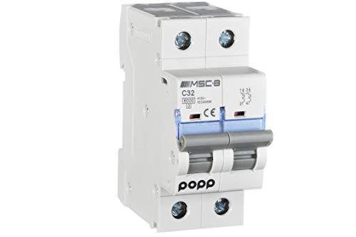 POPP Interruptor Automático Magnetotérmico industrial CURVA C 1P 2P 3P + 6A 10A 16A 20A 25A 32A 40A 50A 63A … (2P, 32A)