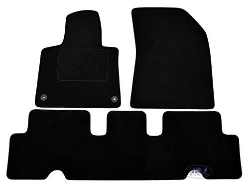 J&J AUTOMOTIVE | Tapis DE Sol Noir Velours Compatible avec Citroen C4 Picasso II 2014-PRéS
