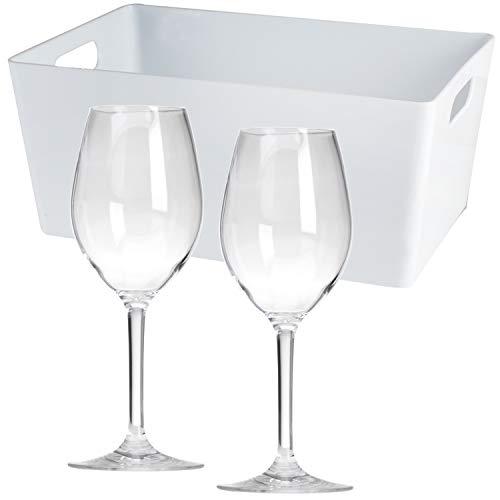 2 x Polycarbonat Weinglas 290 ml + Box - Weißwein Gläser ideal für Camping Küche Trinkkelch Goblet glasklar Elegantes Design Outdoor Partyglas Bruchfest Kunststoff Glas Trinkglas Wasserglas Sektglas