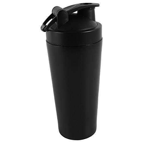 OVBBESS Proteína de acero Botella vibrante Gimnasio Shaker Deportes Milkshake Blender Botella de agua Proteína de suero Fitness sin BPA Negro