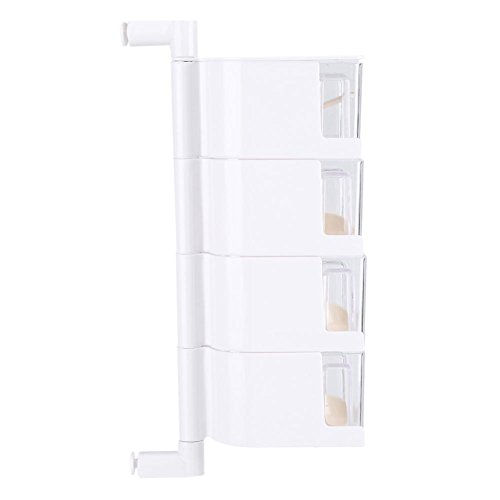 Condiment Storage Can,Roadiress Sticking Rotary Seasoning Kitchen Pepper Sugar Jar Spice Rack Food Box Storage(White)