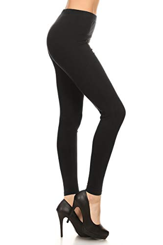 NCL32-Black-1X Cotton Spandex Solid Leggings Made in USA, 1X Plus