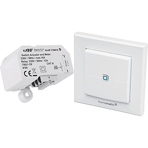 Homematic IP 150239A0 HmIP-FSM16 Schalt-Mess-Aktor, 230 V & Wandtaster – 2-Fach, 140665A0