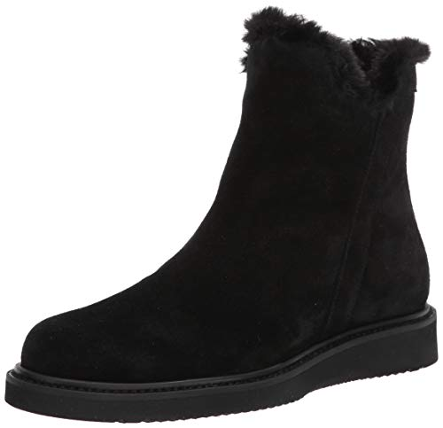 Aquatalia womens CATALINA SUEDE/FAUX FUR Ankle Boot,Black,9.5 M