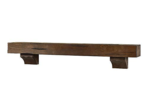 dark wood fireplace mantel - 2