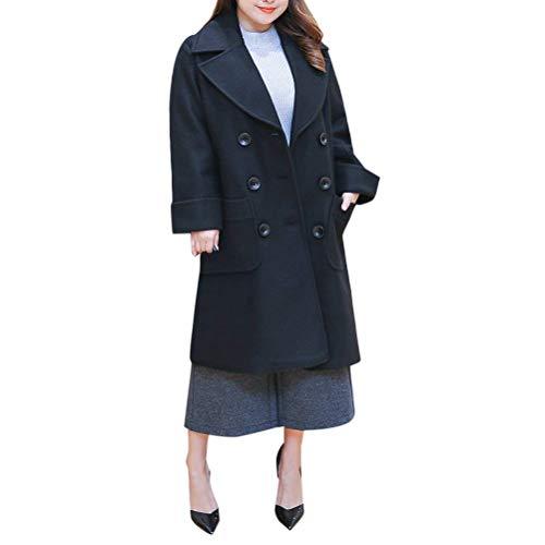 Mujer Outerwear Invierno Talla Grande Gabardina Manga Larga De Solapa Doble Botonadura Anchos Basic Espesor Termica Largos Abrigos Chaqueta Unicolor Ropa