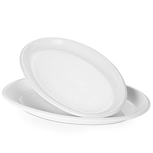DOWAN Oval Serving Platters - 12 Inches Serving Plates, Oven Safe Porcelain Platters, Dinner Plates Serving Dishes for Party, Appetizers, Dessert, Set of 2, White