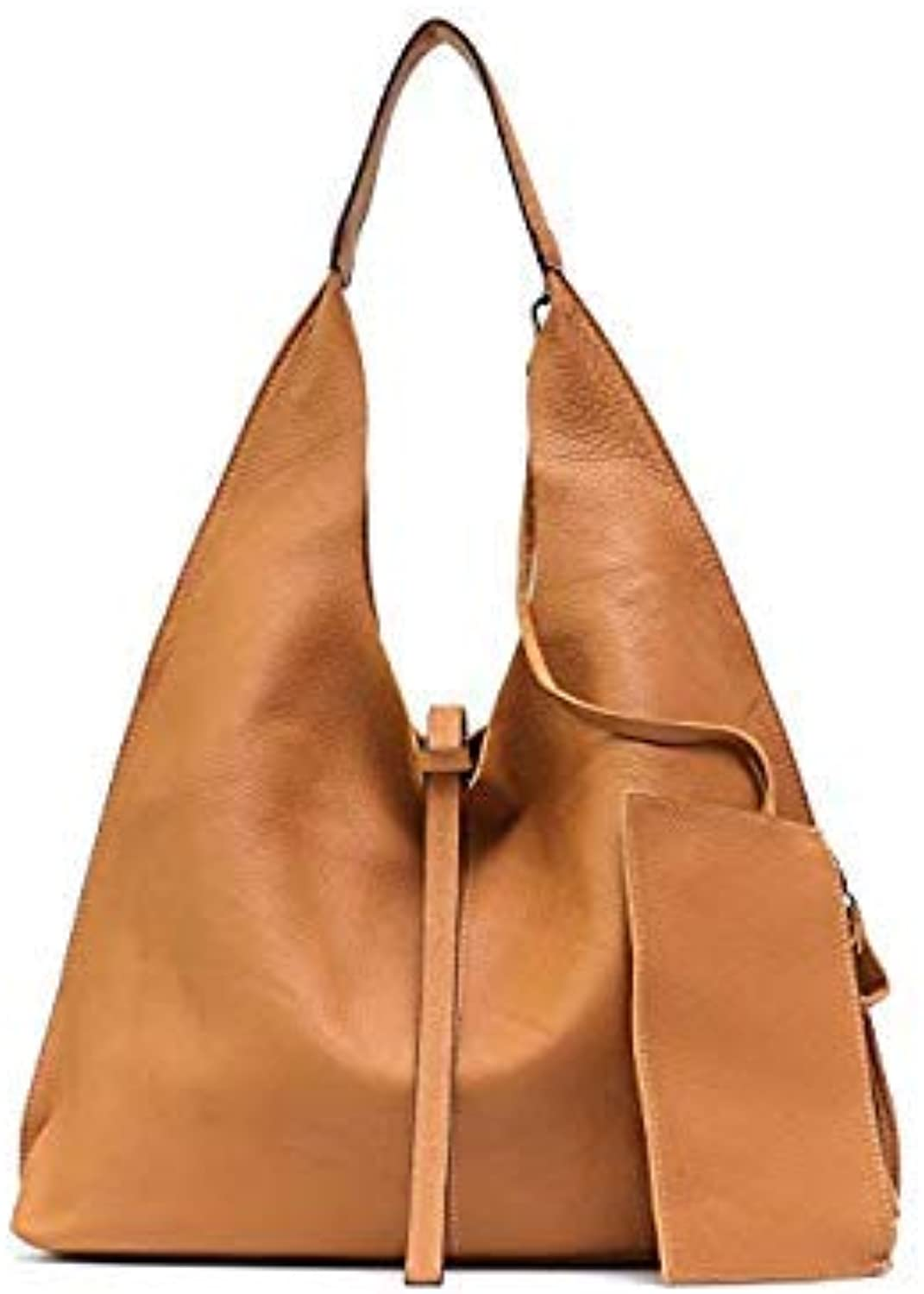 Bloomerang MONFE Genuine Leather Hobo Bags Women Casual Large Tote String Cowhide Shoulder Bags High Quality Brand Handbag Coin Purse Liner color TAN
