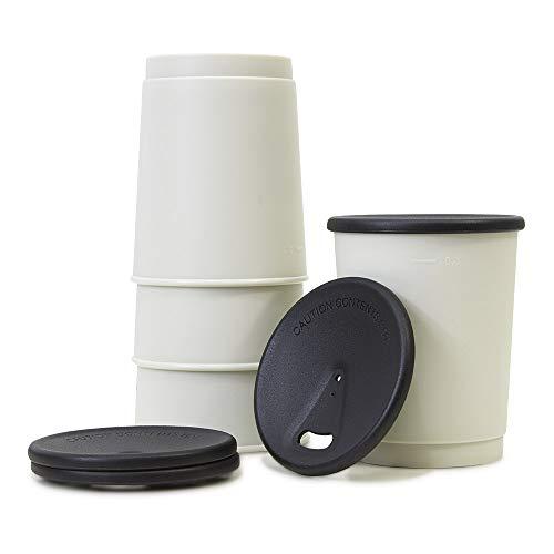 achilles Barista 365 Coffee-to-Go-Becher 4er Set 330ml BPA-frei LFGB geprüft Mehrweg-Becher umweltfreundlicher Trink-Pfand-Becher wiederverwendbarer Kaffee-Becher Spülmaschinenfest Deckel in schwarz