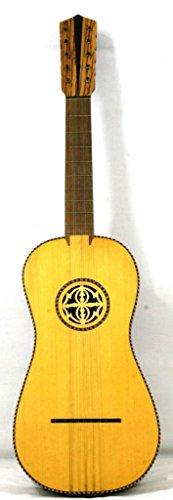 Musikalia Chitarra Battente di liuteria, con rosetta in legno traforata a mano, piroli in legno