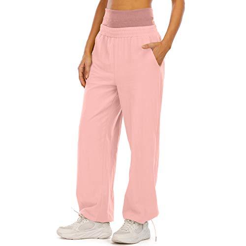 MUYOGRT Pantalones de deporte para mujer, pantalones de entrenamiento, pantalones de fitness, pantalones de chándal, cintura alta para correr, fitness, con pantalón de rayas Rosa 1 M