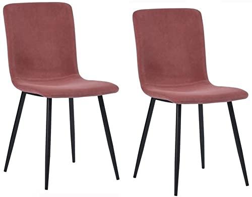 YCJK Mesa auxiliar de salón Sillas de comedor de terciopelo Juego de 2 sillas de cocina asiento de terciopelo patas de acero negro sillas de recepción con respaldo cojín suave rosa fácil de montar