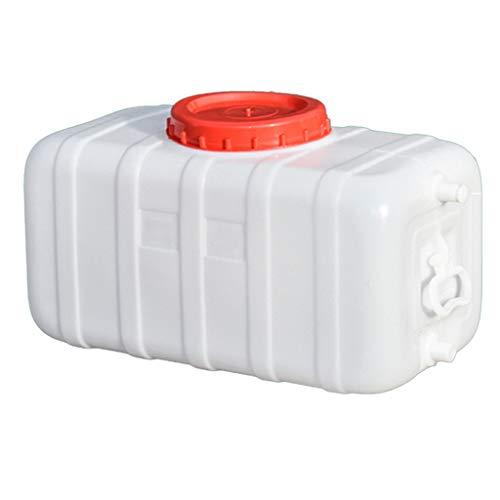 MORN Deposito Aguaagua Grande, Tanque de Agua de Plástico para Exteriores con Grifo, Cubo Portátil, Recipiente de Almacenamiento de Agua de Calidad Alimentaria Blanco con Tapa y Asa