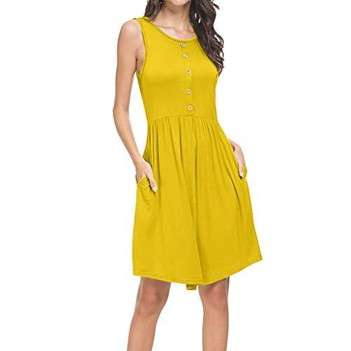 Auifor vrouwen zomer mouwloze casual losse T-shirt jurk met zakken jurk