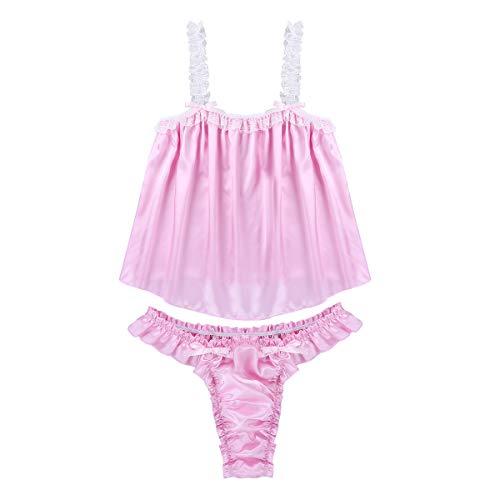 TiaoBug Herren Satin Rüschen Nachthemd Kurzarm Kleid Männer Schlafanzug Sissy Crossdresser Dessous Nachtwäsche Kurzarm Mit Spitzenbesatz Pink Zweiteiler M