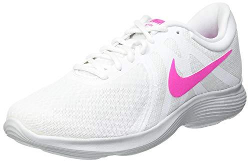 Nike Wmns Revolution 4 EU, Zapatillas de Atletismo Mujer, Multicolor (White/Laser Fuchsia/Pure Platinum 000), 36