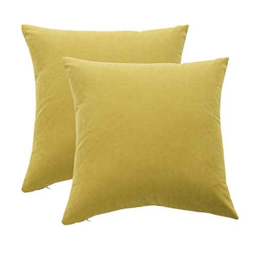 Mushanhun Suave Fundas para Cojines 45x45 cm (18x18 Pulgadas), Decoración Fundas de Almohada Cuadradas con Cremallera Invisible para Sala de Estar Dormitorio Sofá, Paquete de 2 – (Amarillo)