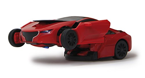 Jamara 410045 Robibot Die Cast 1/32 transformable rot-2in1 Transformation zum Roboter oder Fahrzeug auf Knopfdruck, frei fahrende Räder, profilierte Gummireifen, Karosserie Metall/Kunststoff