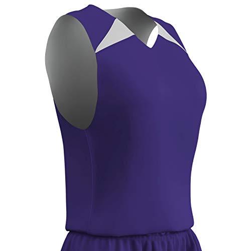 Champro Herren Dri Gear Pro Plus Polyester-Basketball-Trikot, wendbar, Größe XXL, Violett, Weiß