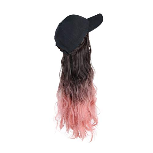 """JJSPP 22"""" Long Wave Baseball Cap Hair Wig Synthetic Cap Wig Hair Extension Naturally Connect Adjustable Cap Wig for Women Party (Color : Style 1)"""