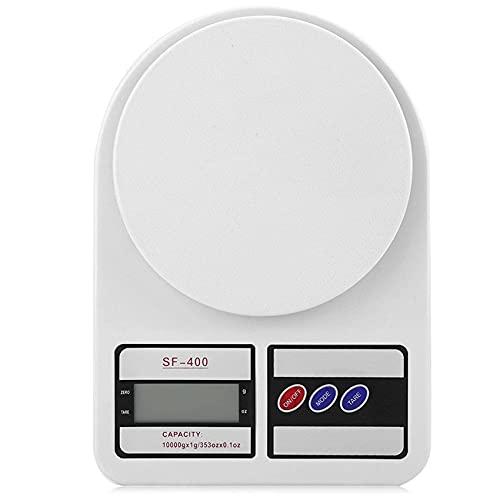 Rpanle Bilancia da Cucina, 10Kg/1g Bilancia Elettronica Digitale Alta Precisione Misurazione Display LCD Multifunzione da Cucina (2 Batterie Incluse) (Bianco) (10kg)