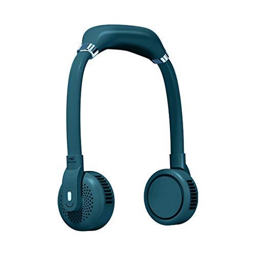 GREEN&RARE Ventilador de cuello manos libres, mini refrigerador de aire ajustable para el cuello, ventilador mini portátil sin aspas USB, pequeño ventilador portátil para viajes deportivos