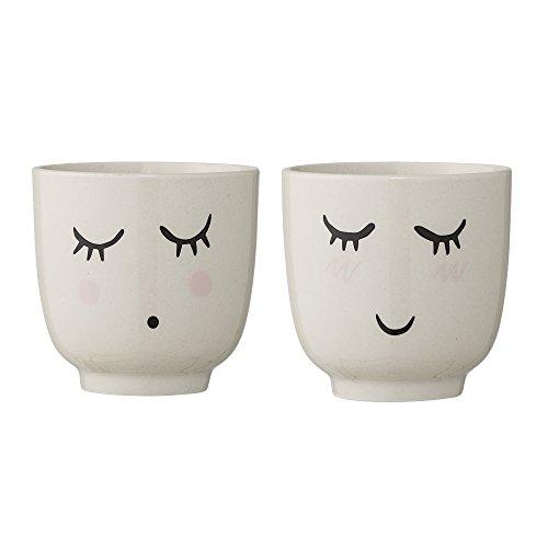 Bloomingville kleine Becher Smilla, weiß, Keramik, 2er Set