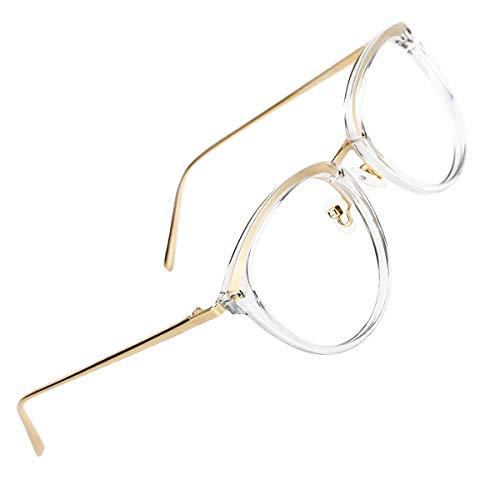 TIJN Rund Brille Ohne Sehstärke Brillengestelle Damen Brillenfassung Fake Brille Ohne Stärke für...