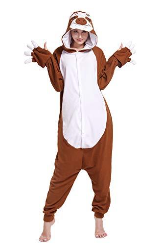wotogold Pijamas de Pereza Marrón Animal Sloth Trajes de Cosplay Adultos Unisex con Ceja Brown M