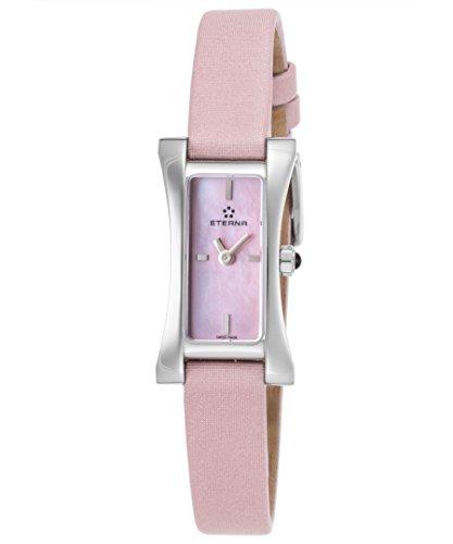 eterna 2610–41–81–1124Damen sahida Pink Satin Strap und rosa Mutter von Pearl Zifferblatt Swiss Quarz Armbanduhr